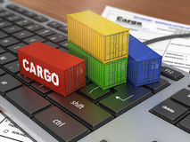 Ship containers on the keyword. Stock Images