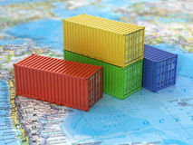 Ship containers on the world map. Royalty Free Stock Images