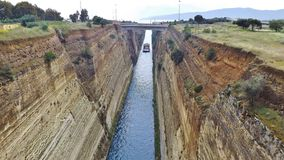 A ship on the Corinth Canal  in the Peloponnese, Greece, Europe. Royalty Free Stock Photography