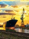 Ship and Crane Royalty Free Stock Photos
