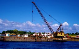 Ship with crane parked stock photo