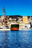 Ship and cranes in Rijeka. View on city port in Rijeka and some ship and cranes on goods terminal stock photos