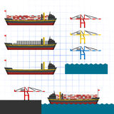 Ship with Cranes Vector Illustration Royalty Free Stock Images