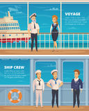 Ship Crew Characters Cartoon Banners Royalty Free Stock Image