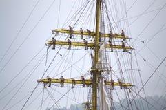Ship crew climbed up masts Royalty Free Stock Photos
