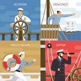 Ship Crew 4 Icons Concept Royalty Free Stock Image