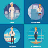 Ship Crew 4 Icons Square Stock Photos