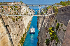 Ship cross The Corinth Canal Stock Photo