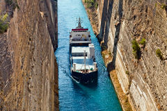Ship cross The Corinth Canal Royalty Free Stock Photos