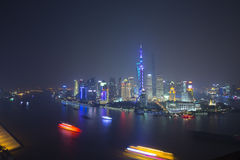 Ship cross Huangpu river in the night,shanghai Royalty Free Stock Photography