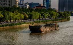 A Ship Crossing the Grand Canal stock image