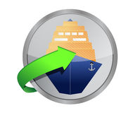 Ship cruise button Royalty Free Stock Images