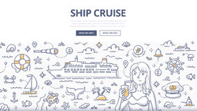 Ship Cruise Doodle Concept. Doodle illustration of ship cruise, voyage vacation, summertime adventure. Concept of traveling by sea for web banners, hero images stock illustration