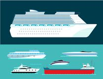 Ship cruiser boat sea symbol vessel travel industry vector sailboats cruise set of marine icon Royalty Free Stock Photos
