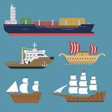 Ship cruiser boat sea symbol vessel travel industry vector sailboats cruise set of marine icon Stock Image