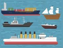 Ship cruiser boat sea symbol vessel travel industry vector sailboats cruise set of marine icon Royalty Free Stock Photo