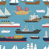 Ship cruiser boat sea vessel travel industry vector sailboats cruise marine seamless pattern backgrpund Royalty Free Stock Photography