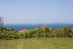 Ship cruses strait between islands. Cargo ship enters Auckland Harbor. Auckland, New Zealand royalty free stock photos