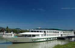 Ship on the Danube. A big river in Austria. Stop in Linz, capital of Upper Austria Royalty Free Stock Images