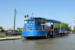 Ship on Danube Delta channel. Royalty Free Stock Photos