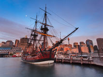 Ship Darl Harbour Endeavour Set. Famous australian explorer ship endeavour as museum in Sydney at dwarf sunset time in city darling harbour Royalty Free Stock Photos
