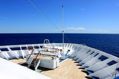 Ship Deck. The deck of a cruise ship Royalty Free Stock Photography
