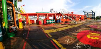 Aft deck view during evening. Ship deck at drydock during evening when all shipyard worker resting Stock Images