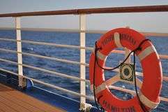 Ship deck. Life ring on a deck of cruise ship Pacific Princess royalty free stock images