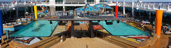 Ship deck pool panorama. Picture of the royal carribean cruise ship deck and pool Stock Photography