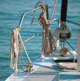 Tackles on yacht Stock Images