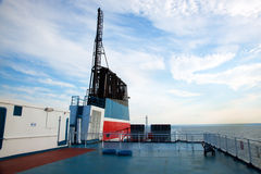 Ship deck view, ocean in a sunny day Royalty Free Stock Image