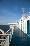 Ship deck view, ocean in a sunny day Royalty Free Stock Photography