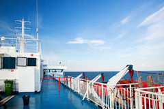 Ship deck view, ocean in a sunny day Royalty Free Stock Photos