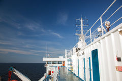 Ship deck view, ocean in a sunny day Royalty Free Stock Images