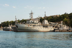 Ship demagnetization SR-137 in the Bay Black Sea. Royalty Free Stock Images