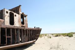Ship in the Desert Royalty Free Stock Images