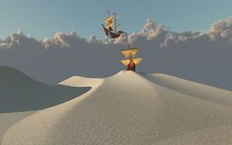 Ship in desert royalty free stock photography
