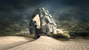 Ship on the desert Stock Photos
