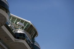 Ship detail under blue sky. Ship detail from a big cruise ship docked in a sea port Stock Photography