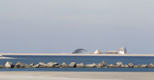 Ship is digging sand Royalty Free Stock Image