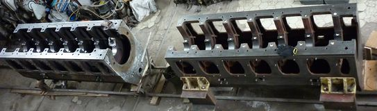 ship disassembled block crankcase. Repairs. Crankshaft Bed Restoration royalty free stock photo