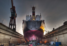 Ship in dock stock image