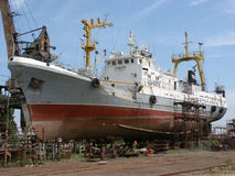Ship in the dock, Astrakhan, Russia. Ship in the dock Stock Photo