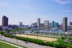 Ship dock in Baltimore inner harbor. Ship dock in Baltimore  inner Harbor scenic area and downtown Royalty Free Stock Photos