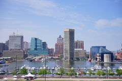 Ship dock in Baltimore inner harbor. Scenic area and downtown royalty free stock photography