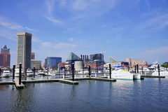 Ship dock in Baltimore inner harbor. Scenic area and downtown royalty free stock photo