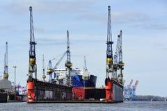Ship at the dock on Elbe river, Hamburg, Germany. Royalty Free Stock Photography