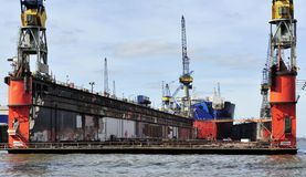 Ship at the dock on Elbe river, Hamburg, Germany. Royalty Free Stock Images