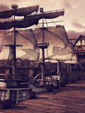 Ship in a dock. Fantasy ship in a dock in a medieval village royalty free illustration