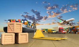 Ship in the dock and freight Stock Image